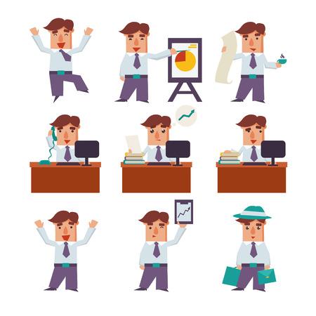 set of businessman: Set Businessman cartoon character activities, emotion, vector