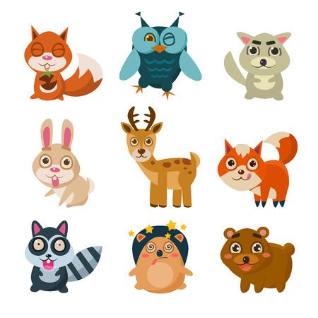 animales del bosque: Los animales del bosque ilustraci�n vectorial con diferentes emociones