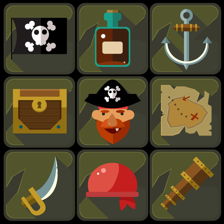 pirata: Iconos planos de color establecidos e ilustraciones de piratas del vector