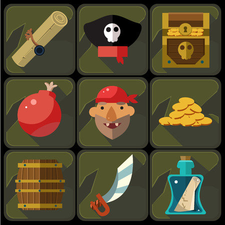 treasure chest: Color flat icons set and illustrations pirate Vector