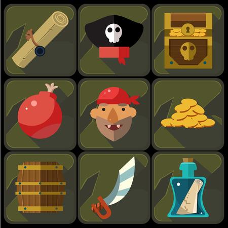 cofre del tesoro: Iconos planos de color establecidos e ilustraciones de piratas del vector