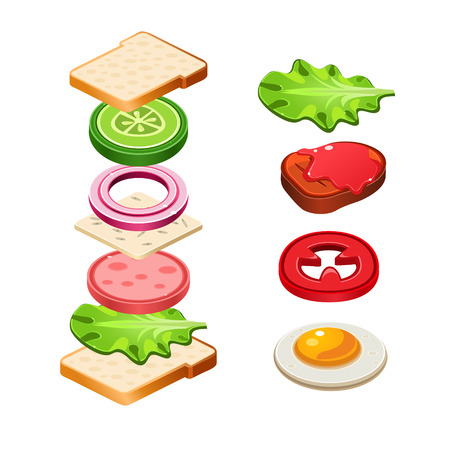 cheese bread: Sandwich ingredients food emblem with bread onion cucumber tomato cheese lettuce salami isolated vector illustration