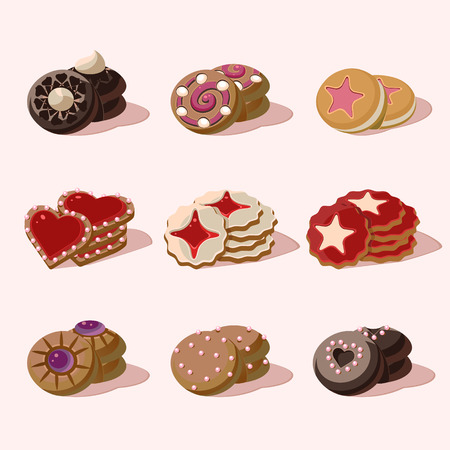fortune cookie: Cookies Set of cartoon vector food icons