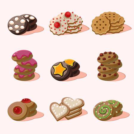 fortune cookie: Cookies Set of cartoon vector food icons
