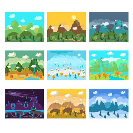 rock layer: Vector landscape cartoon seamless backgrounds set for game
