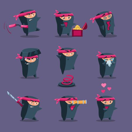 sidekick: Collection of cute cartoon ninja warriors with various weapon, vector Illustration