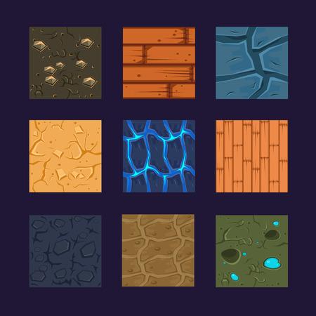 다른 재료와 게임에 대한 질감. 벡터 평면 세트 돌, 나무, 흙