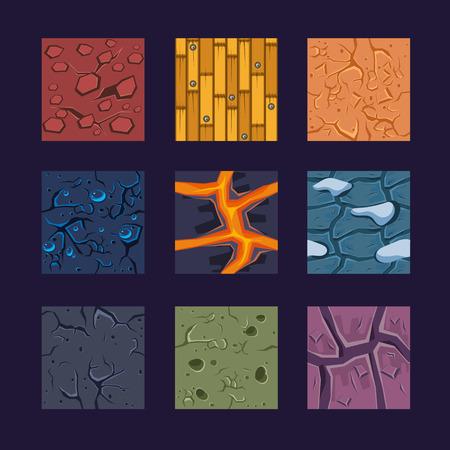 selva caricatura: Los diferentes materiales y texturas para el juego. Vector conjunto plana piedra, madera, tierra Vectores