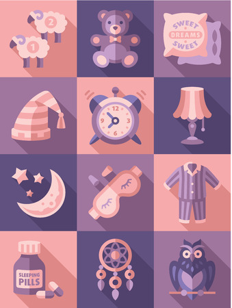 restful: Sleep time icons flat set isolated vector illustration