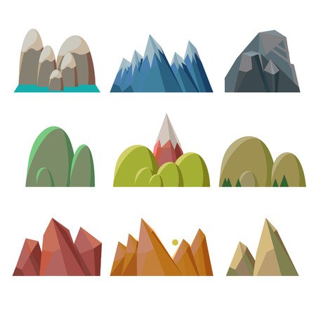 snow capped: Mountains isolated on white background vector illustration Illustration