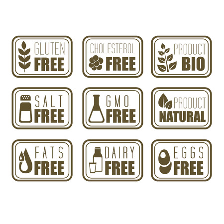 Gluten free, natural product label vector illustration
