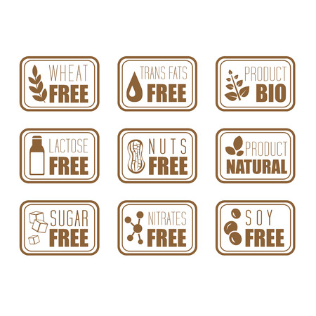 intolerance: Gluten free, natural product label vector illustration