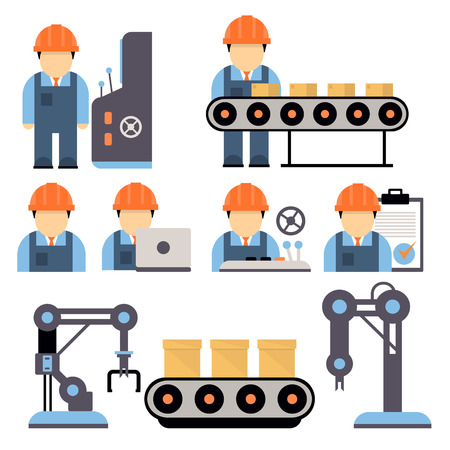 Production process , installation of engineering equipment of industrial production machine operators icons flat line Separate vector illustration Vettoriali