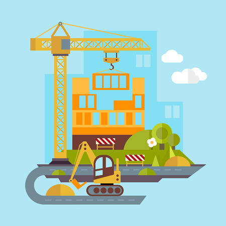building site: Construction site, building a house vector flat illustration