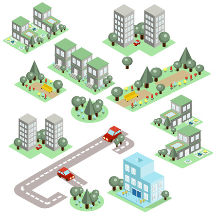 overhang: Set of the isometric city buildings, shops and other elements