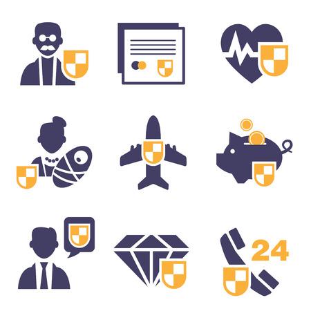 homeowners insurance: Set insurance icons set vector illustration