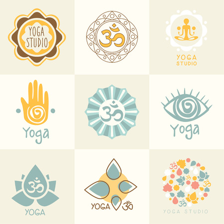 Set of yoga and meditation graphics and logo symbols