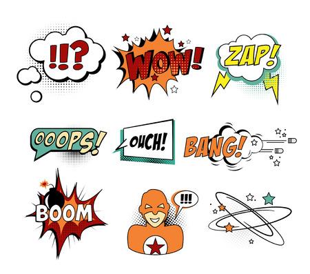 wow: Conjunto de texto cómico, arte pop del vector del estilo