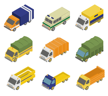 3d icons: Isometric public city transport 3d icons set isolated vector illustration