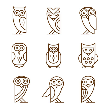 pigeon owl: Set of owl logos and emblems design elements for schools and educational signs