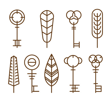 passkey: Collection of silhouettes of golden keys. Vector icons keys of different styles, new and vintage
