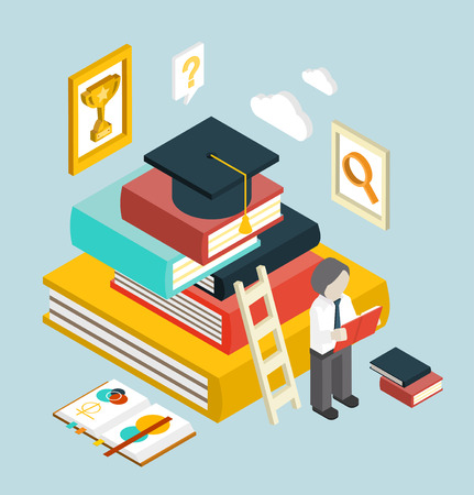 retraining: Flat 3d web isometric education graduation infographic concept vector. Gain knowledge result, university, college classes. Illustration