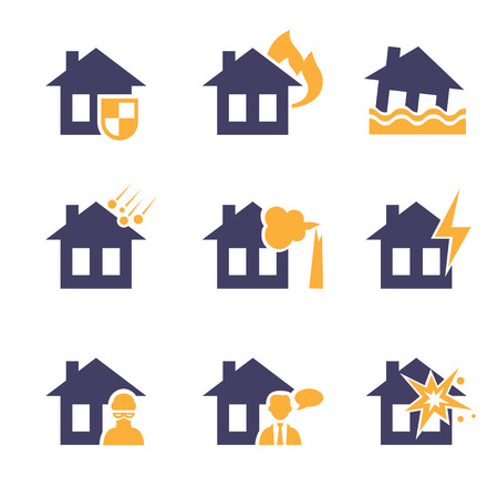 conflagration: Home and house insurance and risk icons  vector set Illustration