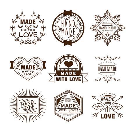 レトロなデザインの徽章ロゴタイプ、ハンドメイド、ヴィンテージの要素をベクトルします。  イラスト・ベクター素材