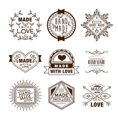 Retro design insignias logotypes , hand made, Vector vintage elements.