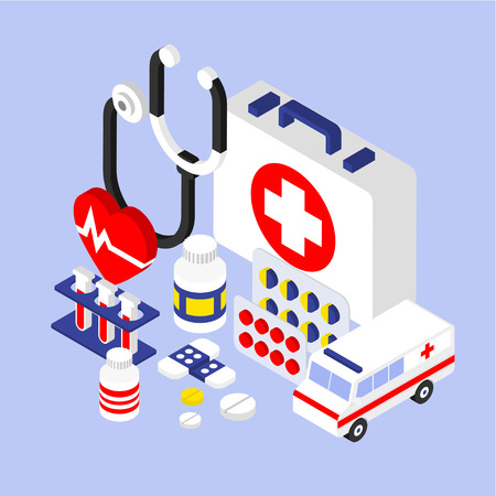 medical instruments: Flat 3d isometric infographic for medical instruments with aid kit