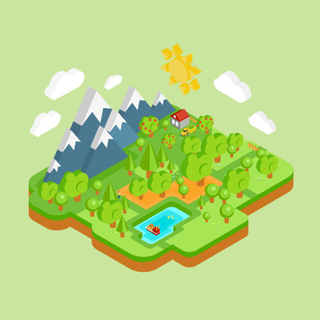 work environment: Environment friendly natural landscape with mountains river and forest around. Vector work flat isometric 3D concept.