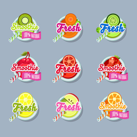 sticers: Set sticers smoothie with ribbon and freshes vector