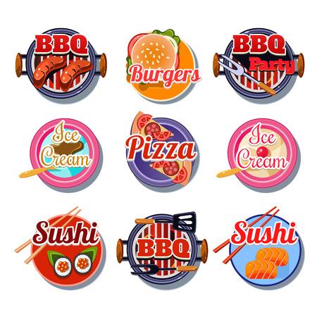 margherita: Set of stickers of food vector illustration Illustration