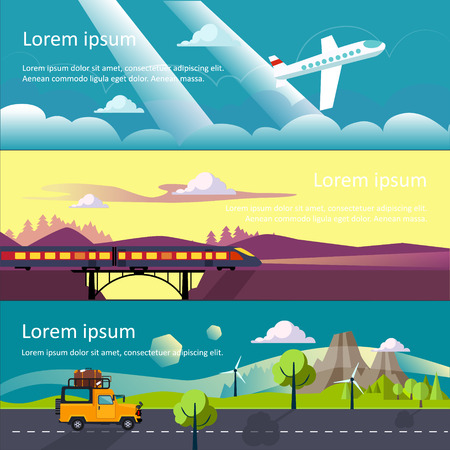 family vacation: Colourful vector flat banner set for your business, web sites etc. Quality design illustrations, elements and concept. Journey by car. Fans club trailering. Trip to Europe.