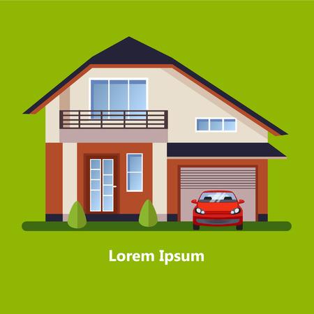 residential neighborhood: Colorful Flat Residential Houses vector Illustration