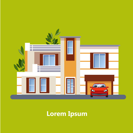 residential houses: Colorful Flat Residential Houses vector Illustration