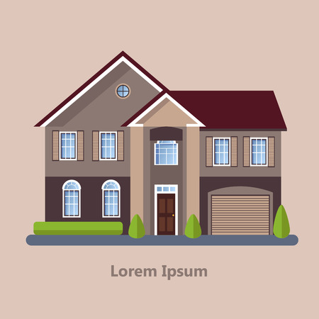 residential: Colorful Flat Residential Houses vector Illustration