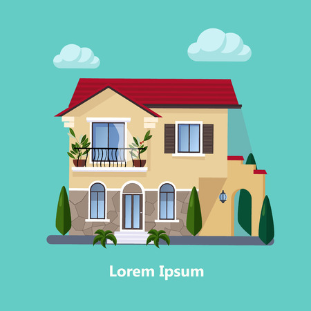 Colorful Flat Residential Houses vector Illustration