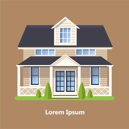 カラフルなフラット住宅ベクトル