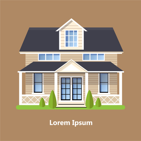 Colorful Flat Residential Houses vector Иллюстрация