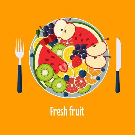 fruit salad: Salad from fruit and berries vector illustration Illustration
