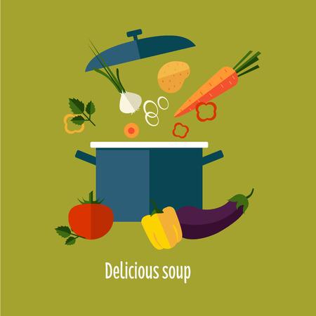 レシピ ベジタリアン野菜スープのイラスト。便利なスープ野菜。野菜スープの組成物。野菜スープの成分。野菜スープの図