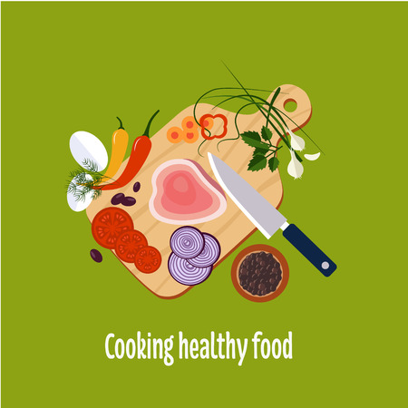 food preparation: Food preparation Knife, meat, onions and spices Vector flat illustrations