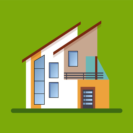 modern architecture: Colorful Flat style Residential Houses vector illustration