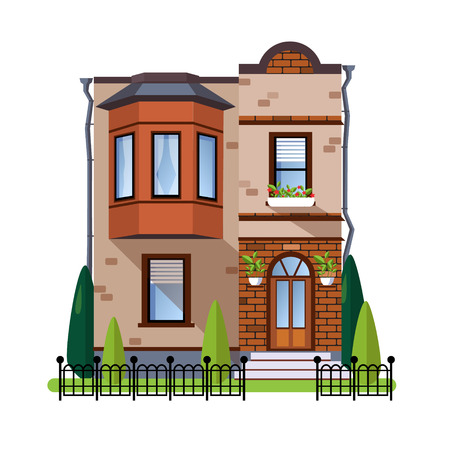 residential houses: Colorful Flat style Residential Houses vector illustration