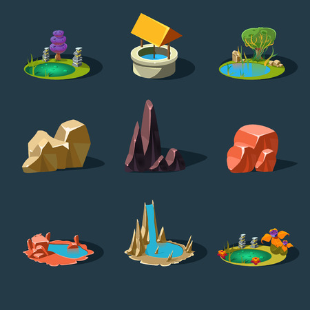 pond water: Elements landscape vector illustration for games