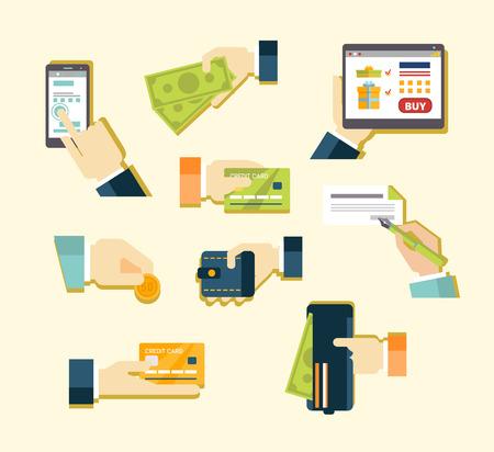 honorarios: Varios m�todos de Cuota de pago de la tarjeta, dinero en efectivo, el pago en Internet, giro postal, cheque. Ilustraci�n vectorial de un piso Vectores