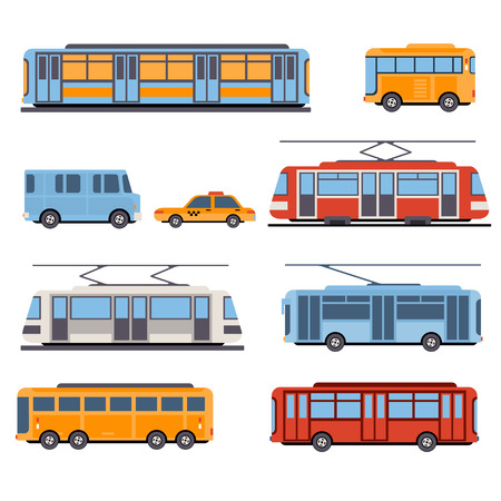 City and intercity transportation vehicles icon set. Trains, subway, buses and taxi. Flat style illustration or icon Çizim