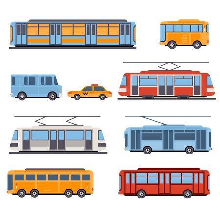 estacion de tren: Ciudad y vehículos de transporte interurbanos conjunto de iconos. Trenes, metro, autobuses y taxis. Ilustración de estilo plano o icono Vectores