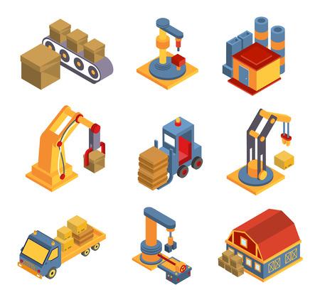 maquinaria: Diagrama de flujo de la fábrica isométrica con símbolos de máquinas robóticas y flechas ilustración vectorial Vectores